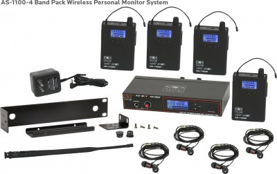 AS-1100-4 with EB4 Band Pack Wireless In-Ear System