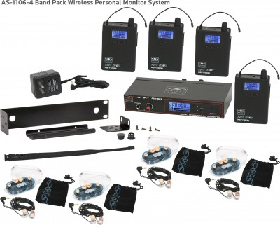 AS-1106-4 with EB6 Band Pack Wireless In-Ear System