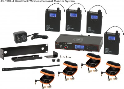 AS-1110-4 with EB10 Band Pack Wireless In-Ear System