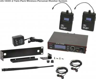 AS-1400-2 Wireless In-Ear Twin Pack System with EB4 Ear Buds