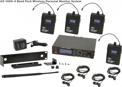 AS-1400-4 Wireless In-Ear Band Pack System with EB4 Ear Buds