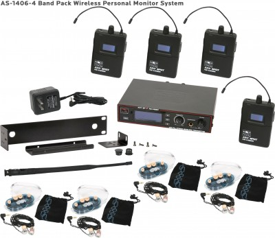 AS-1406-4 Wireless In-Ear Band Pack System with EB6 Ear Buds