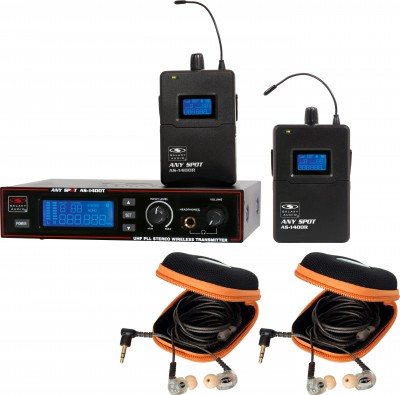 AS-1410-2 Wireless Personal Monitor Twin Pack System with EB10 Ear Buds