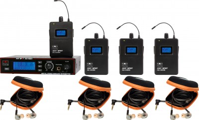 AS-1410-4 Wireless Personal Monitor Band Pack System with EB10 Ear Buds