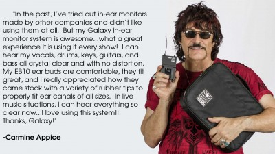 Carmine Appice using the Galaxy Audio AS-1800 Wireless Personal Monitor