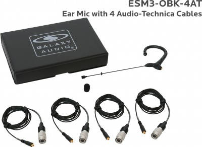 Black Omni Ear Mic with 4 Audio-Technica Cables