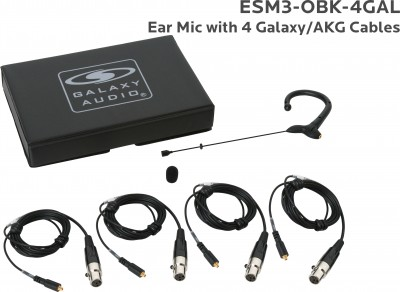 Black Omni Ear Mic with 4 Galaxy Audio/AKG Cables