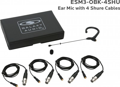 Black Omni Earset Microphone with 4 Shure Cables
