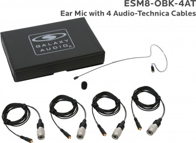 Black Omni-Directional Ear Mic with 4 Audio-Technica Cables