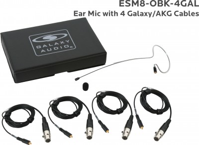 Black Omni Ear Mic with 4 Galaxy Audio/AKG Cables