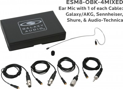 Black Omnidirectional Earset Mic with 4 Mix Cables