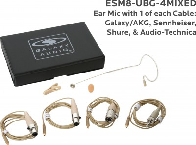 Beige Unidirectional Earset Mic with 4 Mix Cables