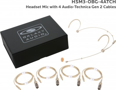 Beige Omni Dual Ear Headset Mic with 4 Generation 2 Audio-Technica Cables