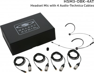 Black Omni-Directional Dual Ear Headset Mic with 4 Audio-Technica Cables