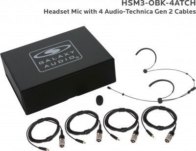 Black Omni Dual Ear Headset Mic with 4 Generation 2 Audio-Technica Cables