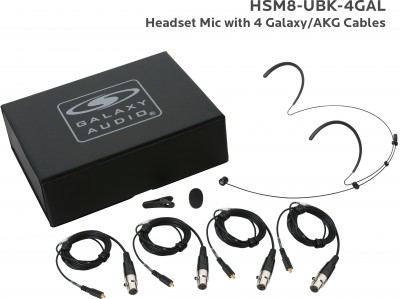 Black Uni Headset Mic with 4 Galaxy Audio/AKG Cables