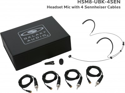 Black Uni Directional Headset Microphone with 4 Sennheiser Cables