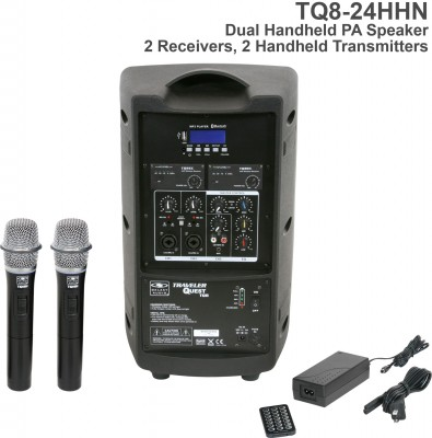 TQ8 Dual Receiver Handheld Microphone PA Speaker Back
