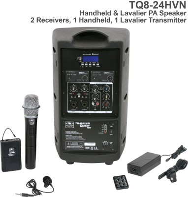 Wireless TQ8 Handheld and Lav Microphone System Back
