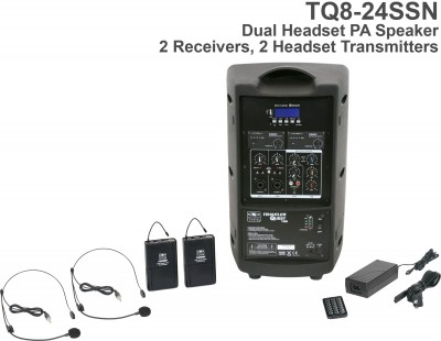 Wireless TQ8 Dual Receiver Headset PA System Back
