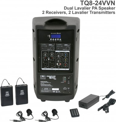 TQ8 Dual Lavalier Wireless PA Speaker System Back
