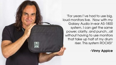 Vinny Appice using the Galaxy Audio AS-1800 Wireless Personal Monitor
